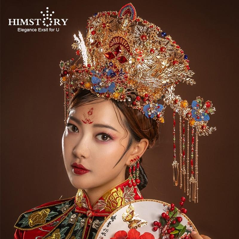 HIMSTORY Headbands Hair-Accessories Chinese Phoenix Queen Wedding Bridal Vintage Retro