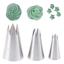 3Pcs/Set Premium Stainless Steel Piping Nozzles Russian Pastry Tips Cupcake Decorating Tools sophronia 90pcs set pastry nozzles and korean style stainless steel pastry piping nozzles tips russian tulip set cs096