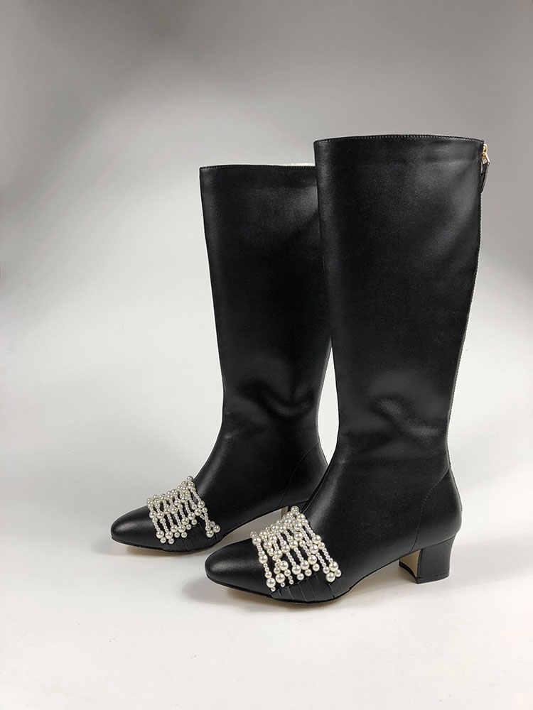 Marka Tasarım Kadın Çizmeler Siyah Med Topuklu Şövalye Çizmeler Dize Boncuk Sonbahar Kış Ayakkabı Kadın Diz Yüksek Botas Mujer invierno 2019