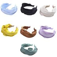 Ободок для волос однотонный карамельных цветов плиссированная
