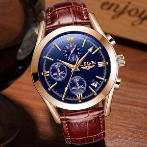 Image 2 - LIGE montre en cuir pour hommes, montre à Quartz de sport, marque de luxe, étanche, avec boîte