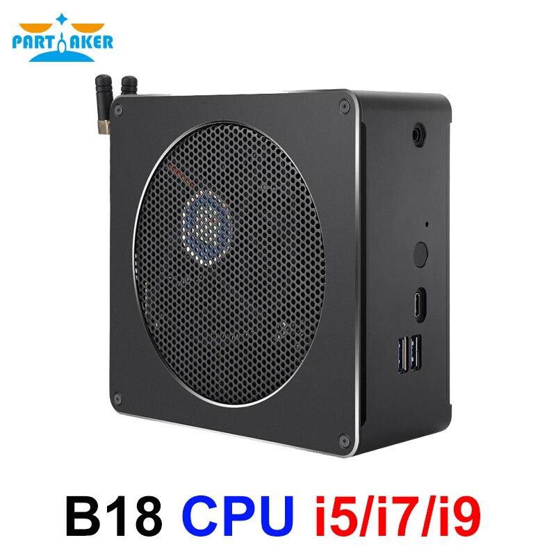 Partícipe B18 Intel i9 8950HK i7 8750H 6 Core 12 hilos Mini PC Windows 10 Pro DDR4 i5 8300H AC Wifi computadora de escritorio HD Mini DP