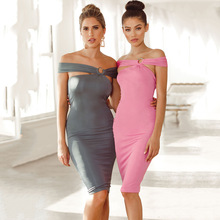 VZFF Summer womens dress new fashion solid color word collar backless wrapped chest sexy high waist nightclub pencil