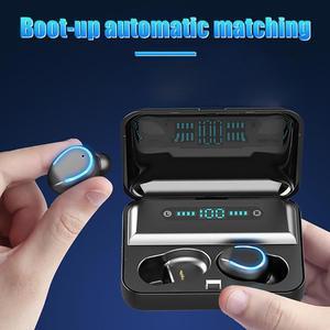 Image 4 - F9 5 TWS auriculares intrauditivos estéreo, inalámbricos por Bluetooth 5,0, Auriculares deportivos tipo U con estuche de carga y pantalla Digital