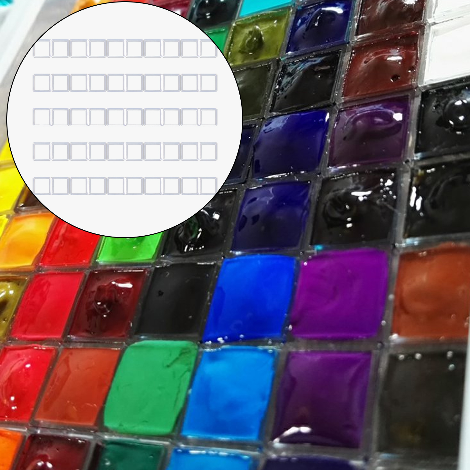 50pcs 0.5ml Clear Plastic Empty Watercolor Paint Half Pans For DIY Watercolor Oils Acrylics Painting