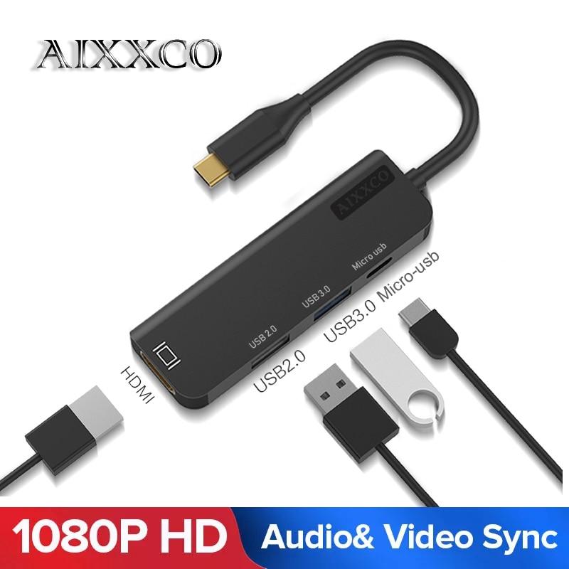 Aixxco usb c hub USB-C a 3.0 hub hdmi thunderbolt 3 adaptador para macbook samsung galaxy s9 huawei p20 companheiro 20 pro tipo c hub usb