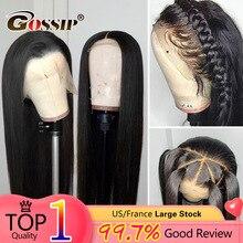 13x6 парик фронта шнурка, прямой фронт человеческих волос для чернокожих женщин бразильский 360 кружева спереди al парик предварительно отобранный Реми парик
