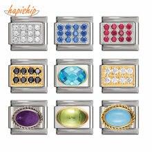 Hapiship pulseira original de aço inoxidável, nova pulseira com pingente cz fit 9mm azul, vermelha, preta e branca dj189
