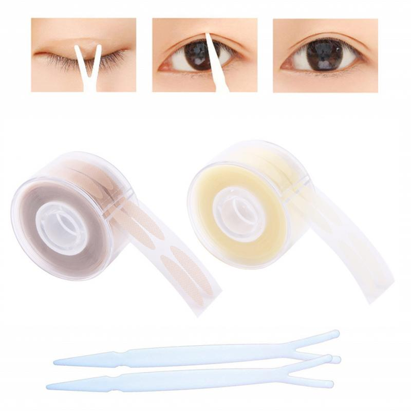 600Pcs/box Eyelid Tape Sticker Invisible Double Fold Eyelid Paste Clear Beige Stripe Self-adhesive Eye Tape Makeup Tools TSLM1