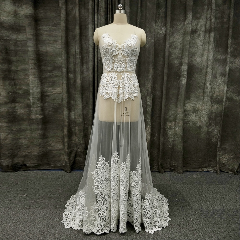 2020 New Arrival Sexy Sweetheart Lace Appliques Beach Bridal Long Gown Wedding Dress