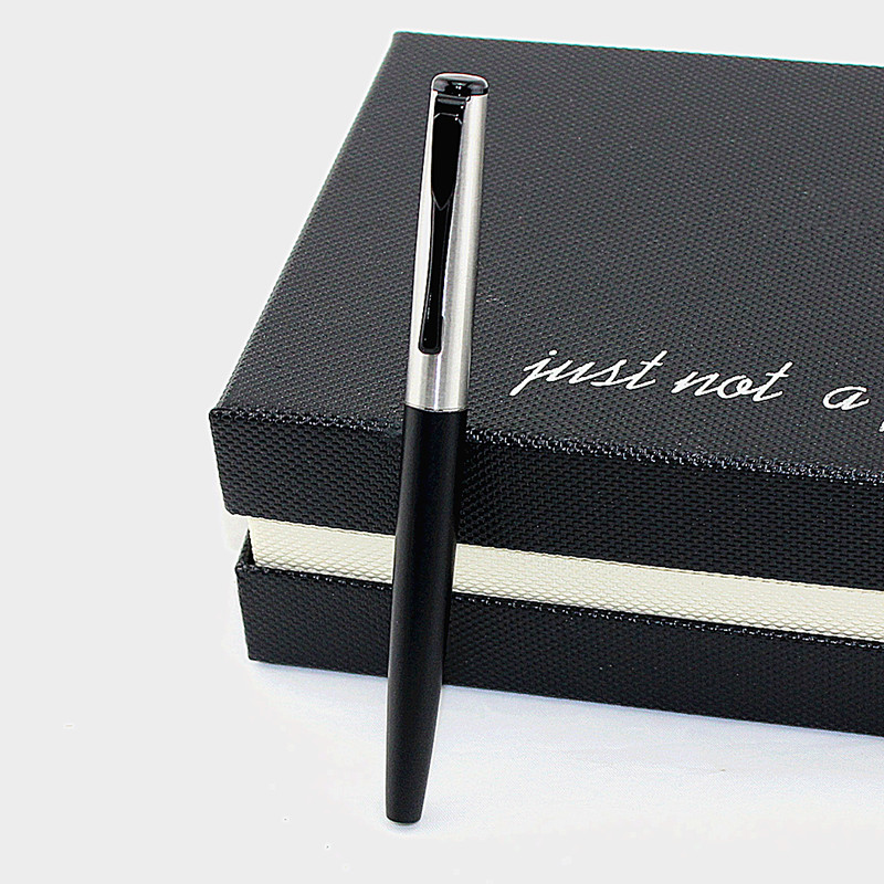 high quality Luxury student Fashion Smooth Black and Silver Rollerball Pen Luxury Metal Gift Ballpoint Pens for Writing