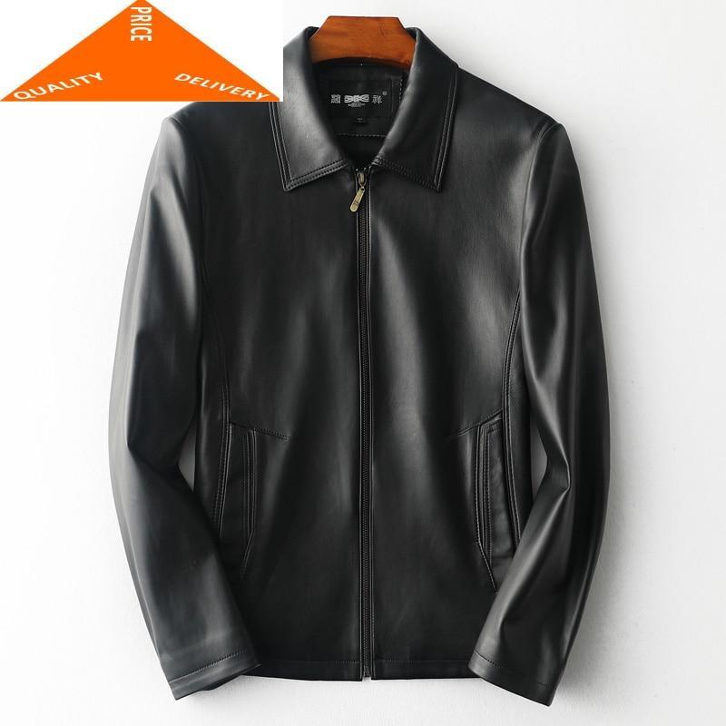 Мужская повседневная куртка из натуральной овчины, модная деловая куртка из 100% натуральной кожи на весну и зиму, 9577|Кожаные куртки|   | АлиЭкспресс