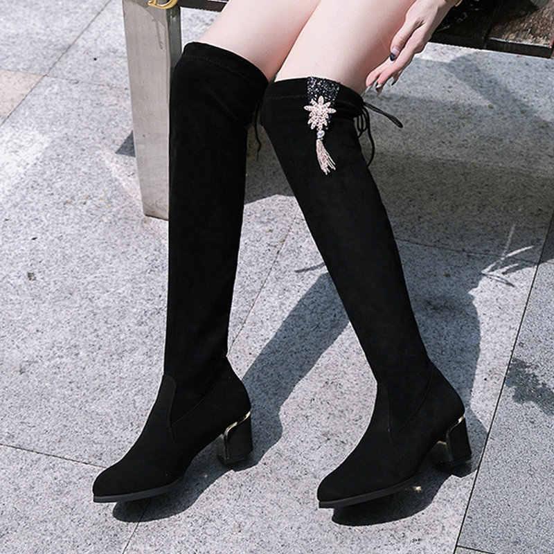 2019 ใหม่เข่าสวยสีดำรองเท้าผู้หญิงฤดูใบไม้ร่วง Elegant กลับ Lace UP รองเท้าผู้หญิงรองเท้าส้นสูงเซ็กซี่สุภาพสตรีโลหะพู่ Boot