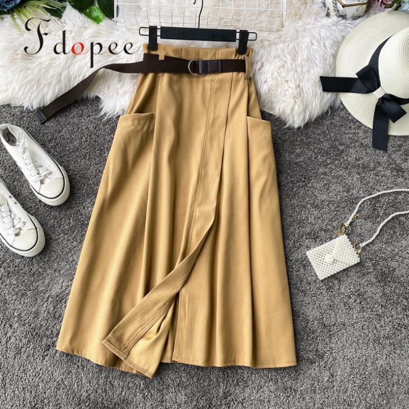 Skirts Womens Elegant Leisure Outwear High Waist Irregular Elegant Pocket Casual Solid Color With Belt Plus Size Female Skirt