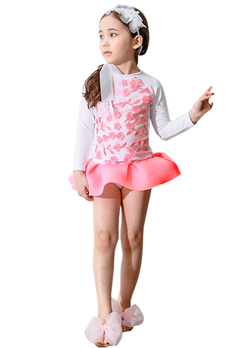 KID'S Swimwear Girls Princess Dress Embroidery Long Sleeve Swimwear 2019 New Children CHILDREN'S Baby Kids Tour Bathing Suit
