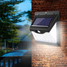 100 diodo emissor de luz solar ao ar livre lâmpada solar pir sensor de movimento luz de parede à prova dwaterproof água solar alimentado jardim rua luz