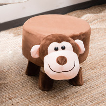 Monkey Shape Tea Table Wooden Cloth Sofa Stool Art Chair Cartoon Animal Wooden Small Stools Kids Stool Bench Baby Chair for Home