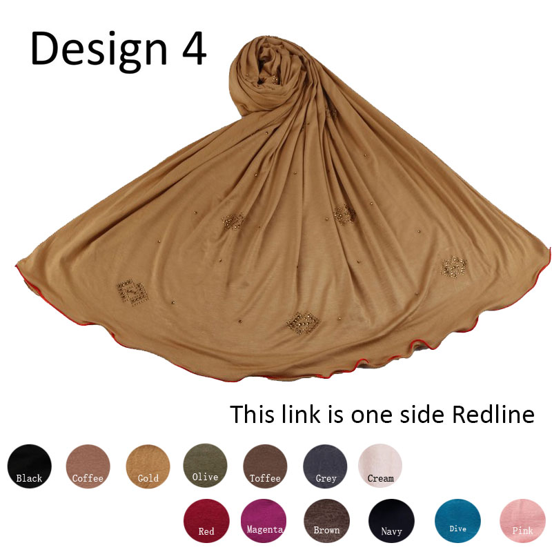 Redline D4- One Side Red Line Cotton Muslim Headscarf Jersey Hijab Full Cover Cap Wrap Scarf Islamic Women Turban Head Shawls