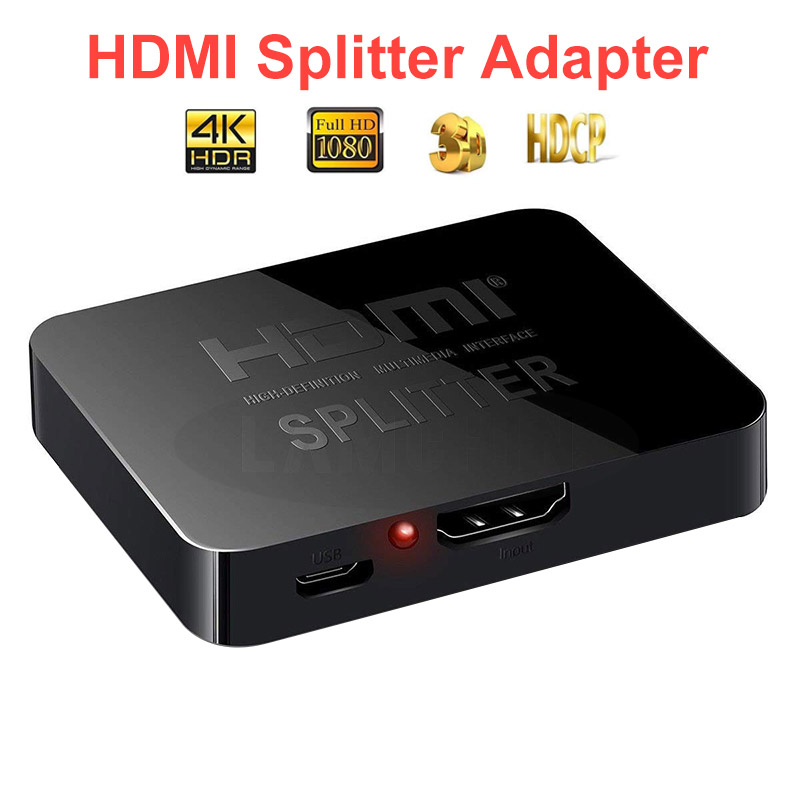 4K HDMI Splitter 2 Ports Repeater Amplifier Hub 3D 1080P For TV 1 In 2 Out Splitter Cable Adapter Converter Auto Switch Adapter