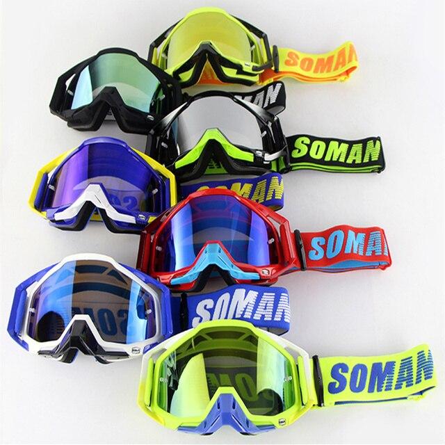 SOMAN Motocross casque lunettes Atv hors route lunettes saleté vélo lunettes anti-poussière Gafas Moto Cross Brillen Moto lunettes SM11