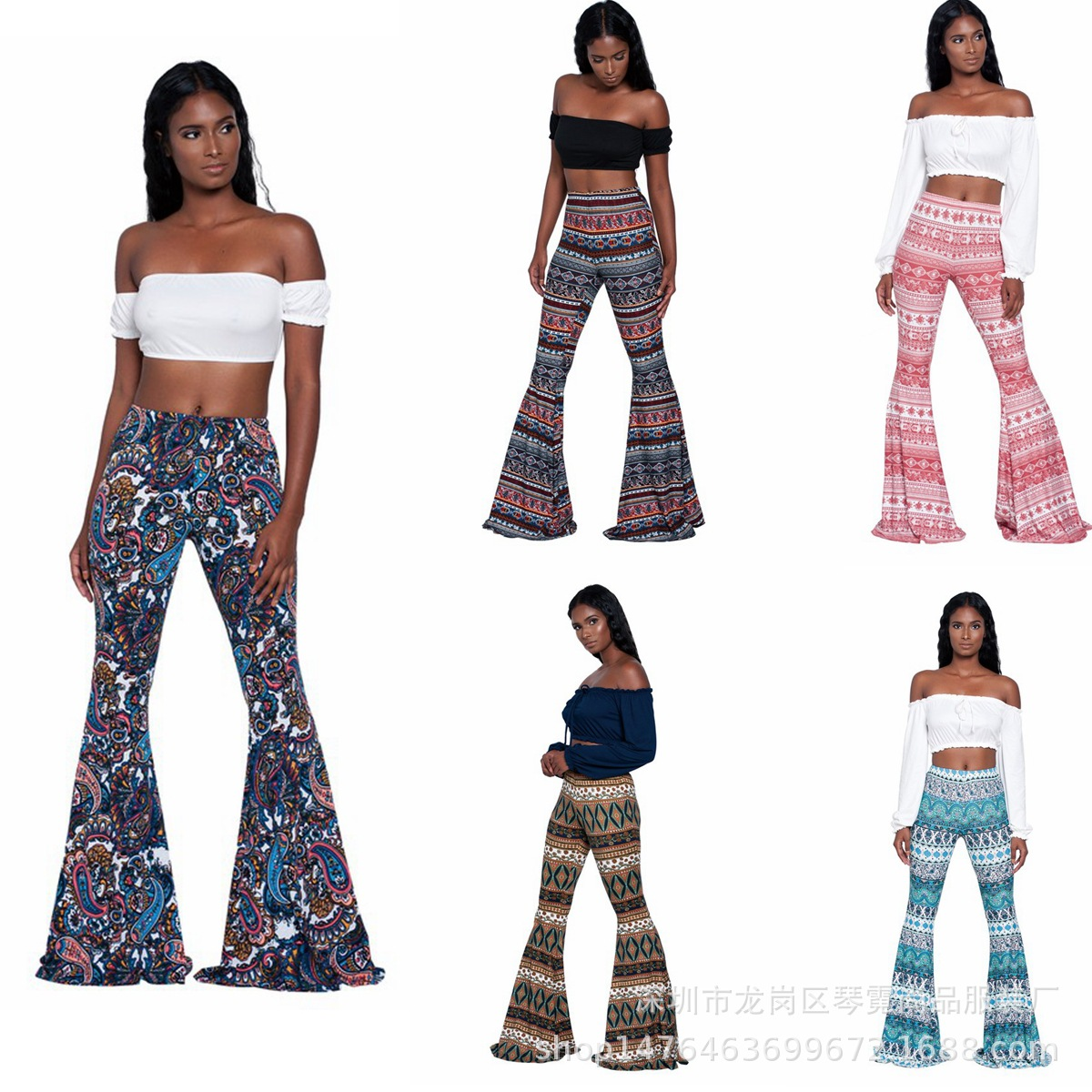2019 EBay New Style Hot Sales Vintage Printed Bell-bottom Pants Multi-color Multi-Code Trousers