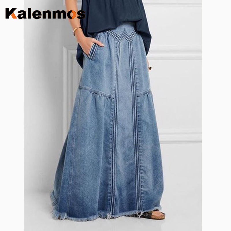 KALENMOS Denim Jeans Women Long Skirt Stretch Vintage Loose Slim Fit Blue Club Streetwear Cotton Sexy Harajuku Skirts Plus Size
