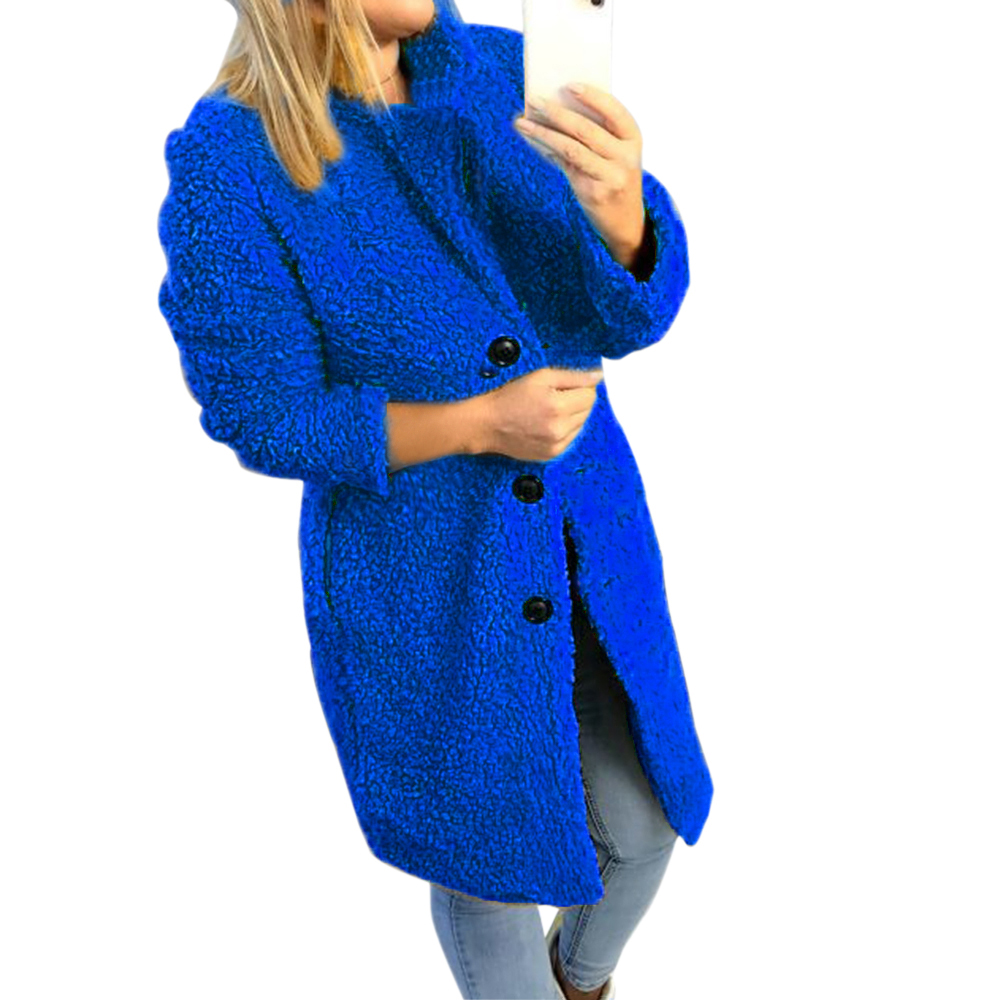 HEFLASHOR Women's Plush coat autumn winter Women Button Jacket Casual Warm turndown collar fur Outwear Mid-Length Woolen jackets 9