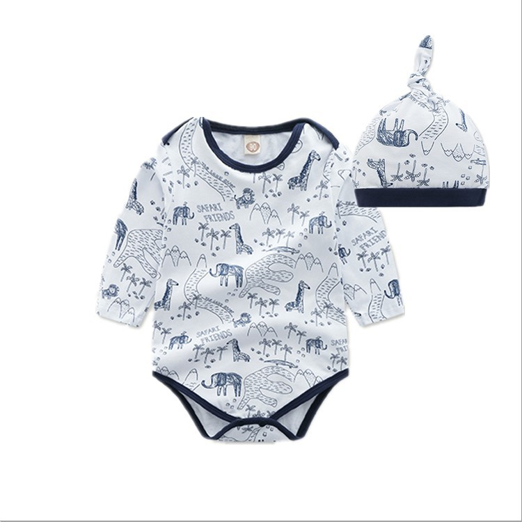 2019 Baby Onesie Autumn Clothing Newborns Pure Cotton 0-2-Year-Old Long Sleeve Crawling Clothes Send Hat Baby Triangle Romper