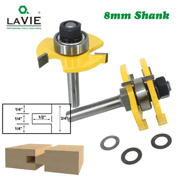 LAVIE 2 pcs 8mm Shank Tongue & Groove Joint Assemble Router Bits T-Slot Milling Cutter for Wood Woodwork Cutting Tools MC02002