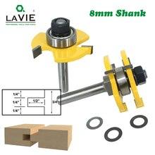 LAVIE 2 stücke 8mm Schaft Zunge & Groove Gemeinsame Montieren Router Bits T Slot Fräser für Holz holz Schneiden Werkzeuge MC02002