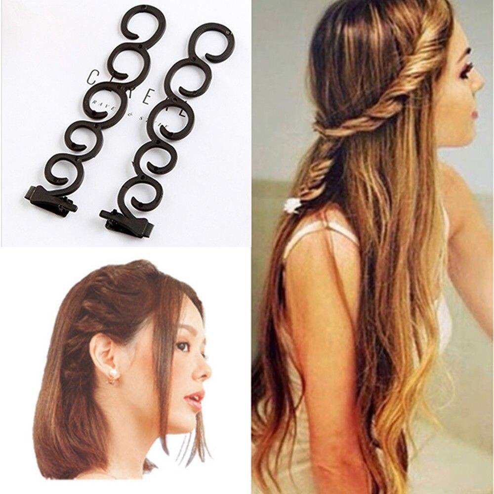 2 Pcs/Set Fashion Style Braider Magic French Twist Plait Wave Braid Clip Stick Bun Maker Centipede Shape Women Hair Styling Clip