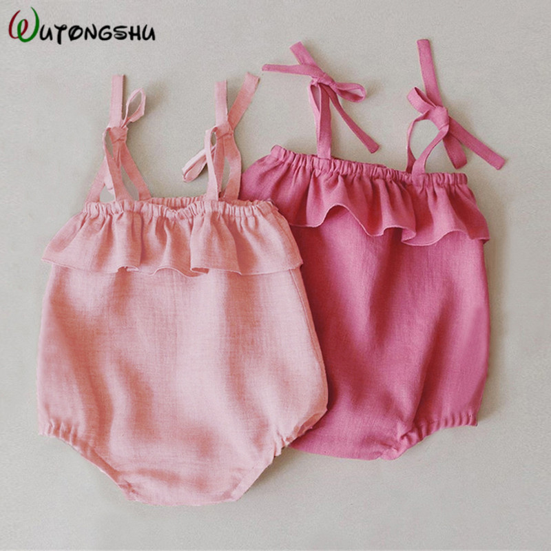 Summer Baby Girl Rompers Newborn Baby Clothes Toddler Solid Lace Design Romper Jumpsuit For 0-24M Girls Newborn One-Pieces