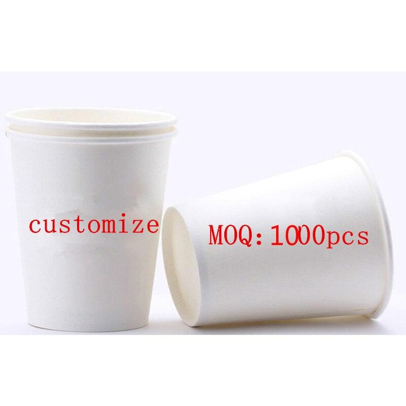 1000 pièces Jetable café tasses 9oz 250ml d'eau de boisson de jus de tasse de papier d'emballage commercial domestique ad utilisation logo OME personnaliser