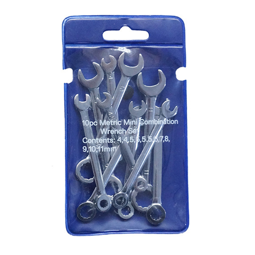 10 pieces Mini Combination Wrench Set 4-11mm Metric Small Engineer Spanner