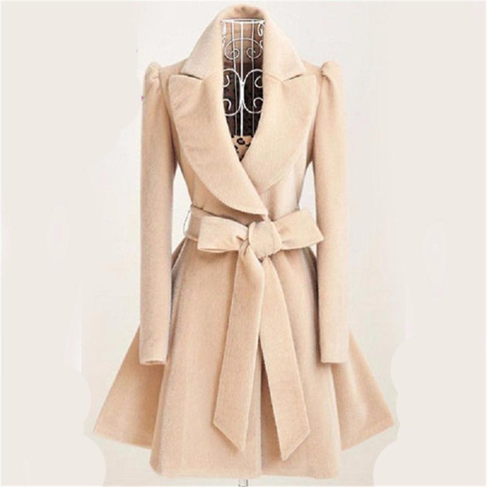 2020 Women Long Trench Coat Slim Female Coat Sashes Down Overcoat Red Khaki Windbreaker Outerwear Autumn Winter Trenchcoat
