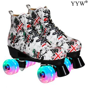 Skating Shoes 4 Wheels Roller Skates Double Row Sliding Inline Skates Roller Sneakers Training Skate Shoes Wheels Shoe Patines