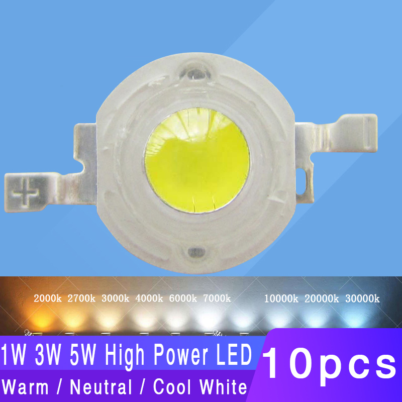 10pcs 1W 3W 5W 4-Chip Warm White 3500K Netrual White 4500K Cool White 6500K Cold White 10000K 20000K 30000K LED Bead Light Parts