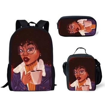 HaoYun 3pcs/Aet Afro Ladies American Girls Pattern School Bag for Teenager Backpack Children Schoolbag Kids Mochila