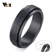 Vnox Punk Spinner Double Layers Rings for Men 6MM Sandblast Stainless Steel Bridal Sets Finger anel Gifts for Him