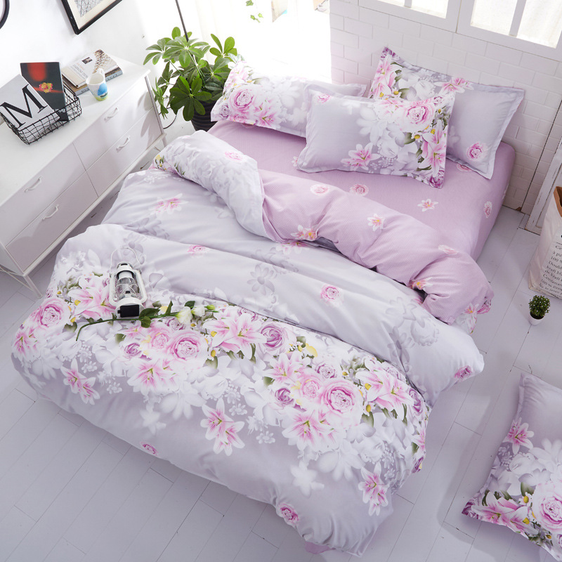 Denisroom Flower Bed Linens Simple Bedding Set Fashion Bedclothes Duvet Cover Set Bed Sheet And Pillowcase Queen King Size AW72*