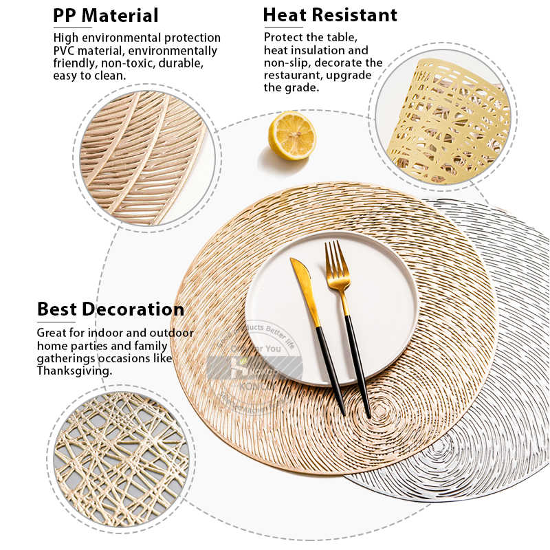 Konco Pvc Round Placemat Resistant Washable Table Mat Cup Mat Dinner Table Decoration Coasters Place Mats For Dining Table Mats Pads Aliexpress