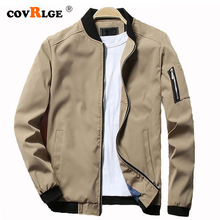 Covrlge Jacket Men 2019 Spring Autumn New Fashion Mens Stand Collar Jackets Solid Casual Cotton Coat Softshell Male MWJ146