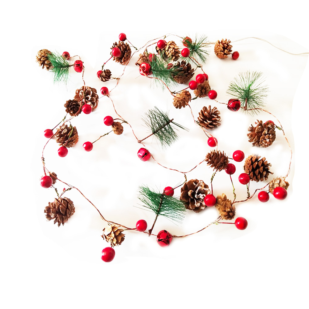 Red Berry Christmas Garland Lights LED Copper Fairy Lights Pinecone String Lights For Xmas Holiday Tree Home Decoration Beloved