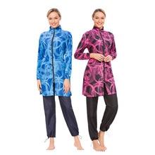 Digital Printed Swimwear Three-piece Conservative Loose Zipper Full Cover Islamic Swimsuite Muslim Swimming Suit for Women