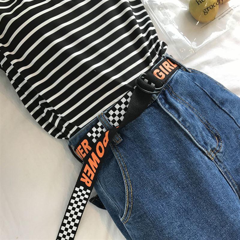 Модный женский ремень в стиле Харадзюку с двойным d-образным кольцом и пряжкой, длинный ремешок 130 см, женские холщовые ремни с буквенным принтом для джинсов 123