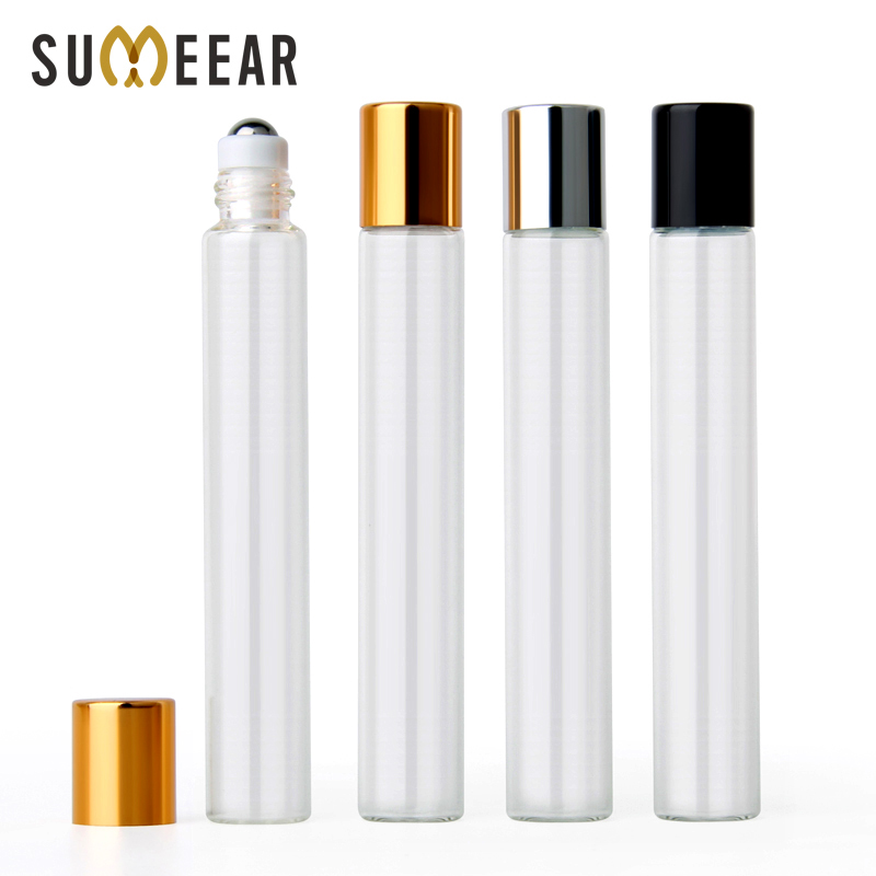 100Pieces/Lot 10ml Essential Oil Bottle Empty With Roll On Cosmetic Steel Ball Travel Perfume Bottles