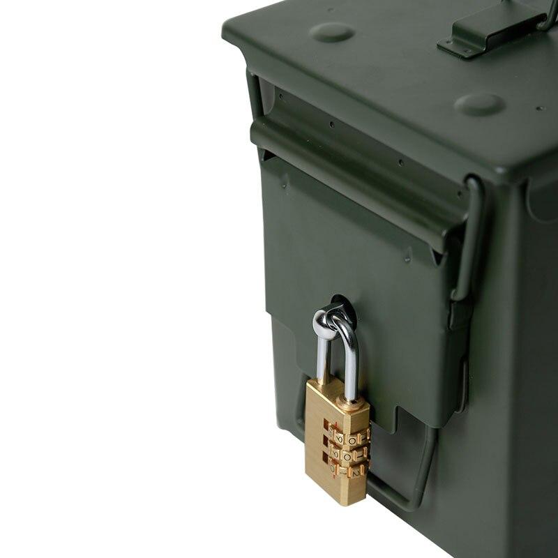 50 Cal Metal M2A1 caja de municiones estilo militar y militar caja de acero munición de pistola caja de almacenamiento caja de soporte pesado táctico caja de balas bloqueable - 4