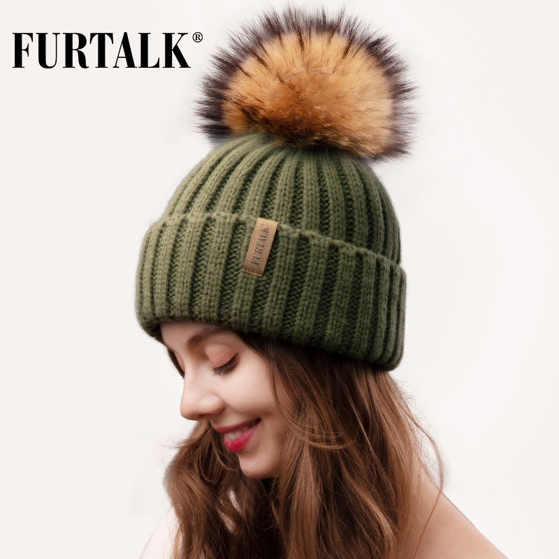 Furtalk Real Fur Pompom Beanie Hat Women Winter Knitted Hat Warm Real Big Raccoon Pom Pom Hat  For Female