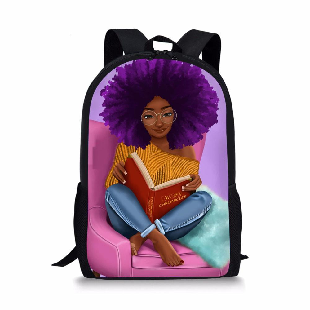 HaoYun Black Arts African Girl Printing School Bags Large Capacity Primary Student Bookbags Back To School Satchecl Schoolbags
