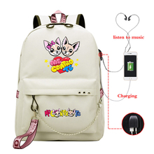 Waterproof Backpacks Me Contro Te Printed USB Travel Backpack Students School Bags for Women Men Shoulder Bags